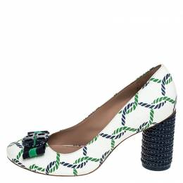 Tory Burch	 White Leather And Green/Blue Isle Rope Maritime Block Heel Pumps Size 39.5