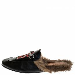 Gucci Black Snake Embroidered Leather and Fur Lined Princetown Mules Size 44 252233