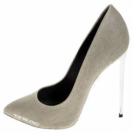 Off-White Beige Canvas Pointed Toe Pumps Size 39 252537