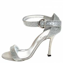 Sergio Rossi Grey Crystal Embellished Satin Open Toe Ankle Strap Sandals Size 36 252729