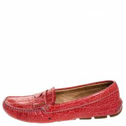 Prada Red Croc Embossed Leather Penny Loafers Size 38