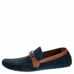Louis Vuitton Navy Blue/ Brown Suede And Leather Hockenheim Loafers Size 45