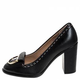 Salvatore Ferragamo	 Black Leather Fele Gancio Detail Block Heel Loafer Pumps Size 41