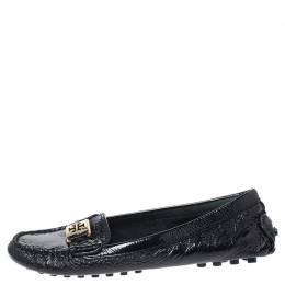 Tory Burch Black Patent Leather Kendrick Driving Loafers Size 37
