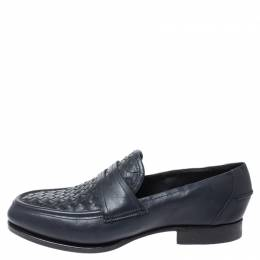 Bottega Veneta	 Blue Intrecciato Leather Penny Loafers Size 40 253437
