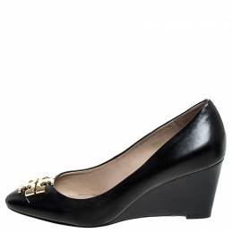 Tory Burch	 Black Leather Raleigh Round Toe Wedge Pumps Size 37.5