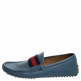 Gucci Blue Leather Web Trim Loafers Size 41