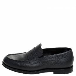Louis Vuitton Black Textured Leather Penny Loafers Size 40