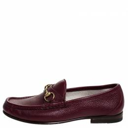 Gucci Burgundy Leather 1953 Horsebit Loafers Size 40