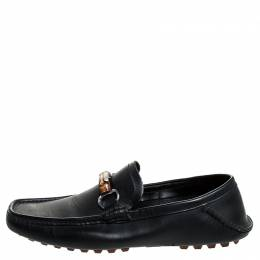 Gucci Black Leather Bamboo Horsebit Collapsible Heel Loafer Size 40