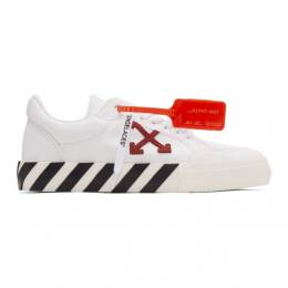 Off-White White and Burgundy Low Vulcanized Sneakers OMIA085R20D330500129
