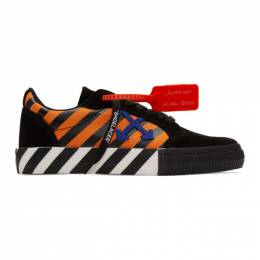 Off-White Black and Orange Diag Low Vulcanized Sneakers OMIA085R20C210181930