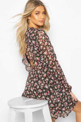 Floral Ruffle Front Ruched Smock Dress Boohoo FZZ74109-105-24