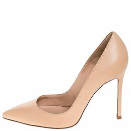 Gianvito Rossi Beige Leather Pointed Toe Pumps Size 37