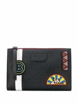 Bally logo patch stripe detail clutch bag 6231800