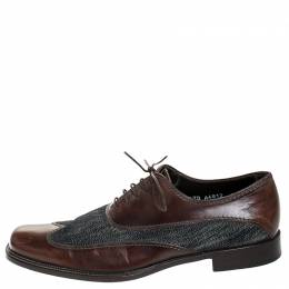 Dolce and Gabbana Blue Denim And Brown Leather Wingtip Lace Up Oxford Size 40.5 253826
