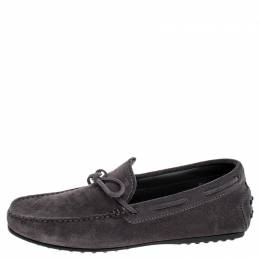 Tod's Grey Suede City Gommino Bow Loafers Size 40 Tod's