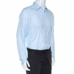 Gucci White And Blue Checked Cotton Button Front Slim Fit Shirt XL 253489