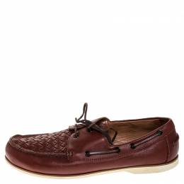 Bottega Veneta	 Maroon Intrecciato Leather Driving Loafer Size 43 253657
