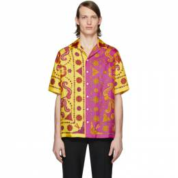 Versace Yellow and Pink Silk Barocco Western Shirt A81630 A232646