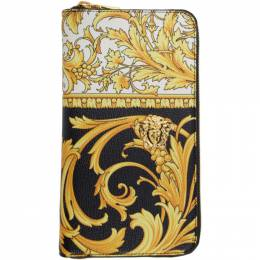 Versace Black and Yellow Barocco Long Zip Wallet DP33597 DVTG8