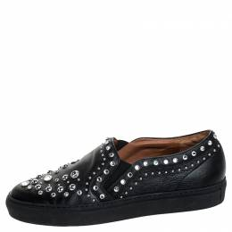 Givenchy Black Leather Studded Slip On Sneakers Size 40 254710