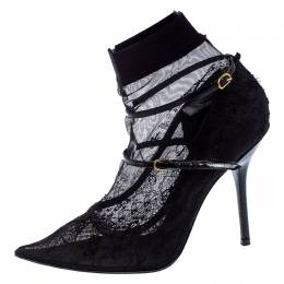 Dolce and Gabbana Black Lace And Stretch Mesh Fabric Sock Mary Jane Pointed Toe Pumps Size 41