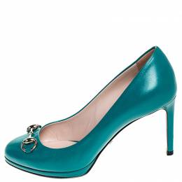 Gucci Turquoise Leather Horsebit Pumps Size 36.5