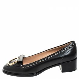 Salvatore Ferragamo	 Black Leather Fele Gancio Detail Block Heel Loafer Pumps Size 40