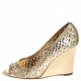 Louis Vuitton Gold Stand By Me Peep Toe Wedge Pumps Size 36 255569