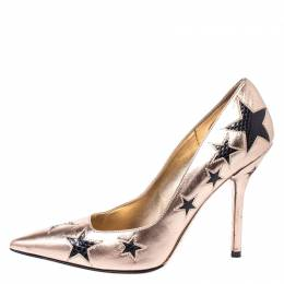 Dolce and Gabbana Metallic Gold/Black Leather and Snakeskin Star Pointed Toe Pumps Size 37.5