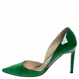 Jimmy Choo Green Suede And Patent Liz Pointed Toe Pumps Size 35.5