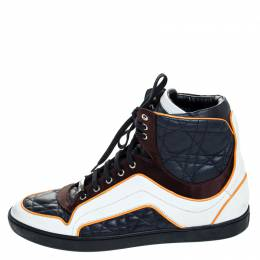Dior Tricolor Quilted Cannage Leather High Top Sneakers Size 39 255873