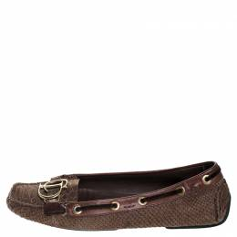 Dior Brown Python Leather CD Loafers Size 41