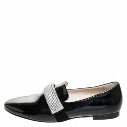 Christopher Kane Black Patent Leather Crystal Embellished Loafers Size 37