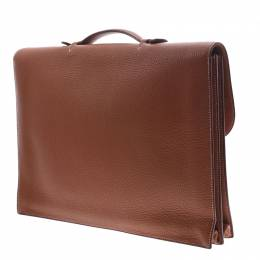 Hermes Brown Clemence Leather Sac a Depeches 38 Briefcase