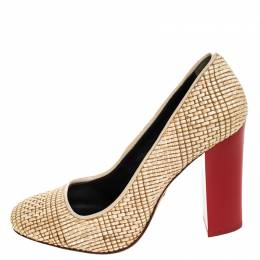 Tory Burch	 Beige Raffia And Red Block Heel Pumps Size 38