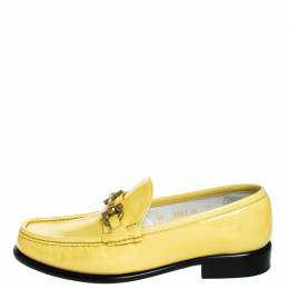 Salvatore Ferragamo	 Yellow Patent Leather Mason Loafers Size 44