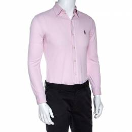 Ralph Lauren Pink Cotton Knit Slim Fit Oxford Shirt S