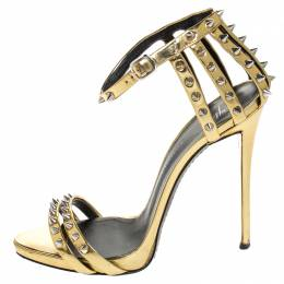 Giuseppe Zanotti Design	 Gold Metallic Spike Leather Ankle Strap Sandals Size 39 255693