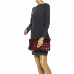Bottega Veneta Red Python Quilted Large Vibio Clutch 253398