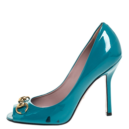 Gucci Teal Patent Leather Jolene Horsebit Peep Toe Pumps Size 37.5
