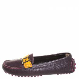 Fendi Burgundy Leather FF Logo Loafers Size 38.5