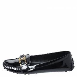 Louis Vuitton Black Patent Leather Oxford Logo Slip On Loafers Size 36