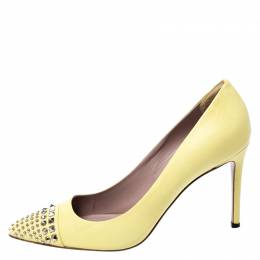 Gucci Yellow Leather Studded Pointed Toe Pumps Size 38.5 257416