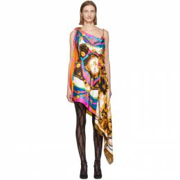 Versace Multicolor Mixed Print Draped Asymmetric Dress A85628 A233263