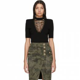 Balmain Black Lace-Up Sweater TF10299K030