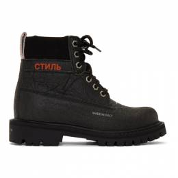 Heron Preston Black Recycled LH Worker Boots HWIA001R209280781000