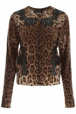 ANIMALIER CARDIGAN WITH LACE Dolce and Gabbana 192450DMA000006-HY13M