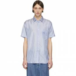 Comme des Garcons Shirt Blue and White Striped Cupro Short Sleeve Shirt CDGS7CLB